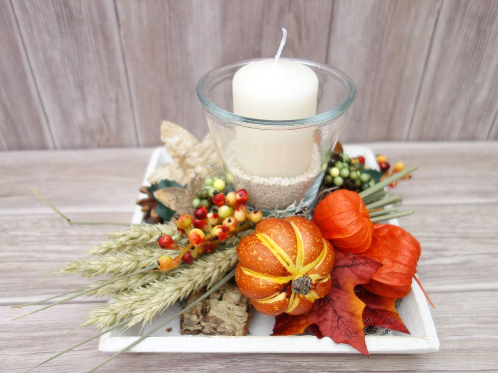 Jahreszeitentisch - Tischdeko Herbst Windlicht Herbstdeko ...