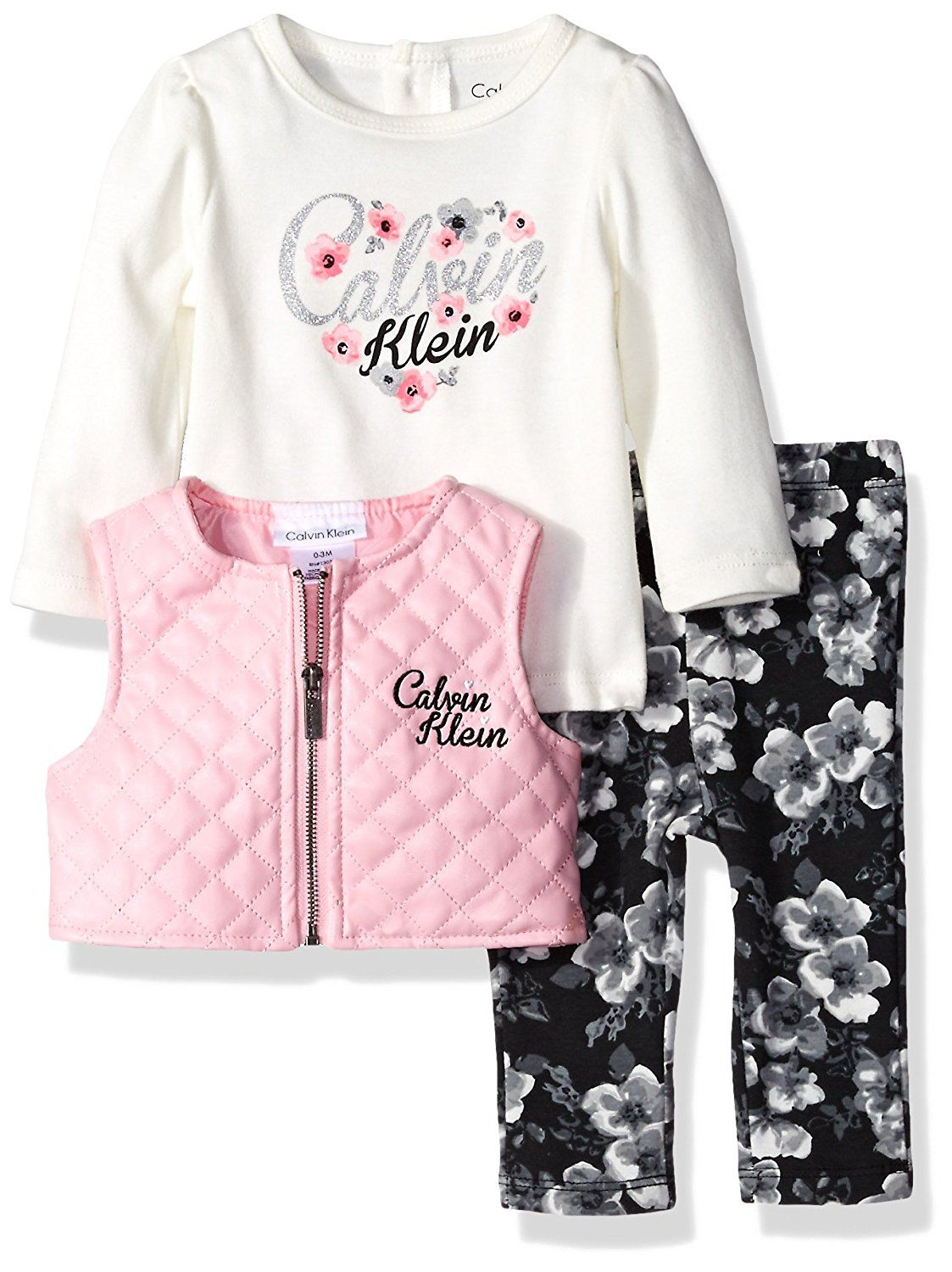 Amazon Com Calvin Klein Baby Girls Quilted Vest With Tee And Pants Set Clothing Calvin Klein Baby Baby Girl Clothes Floral Dress Set