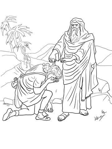 king david in the bible coloring pages | Samuel Anoints David as King coloring page from King David ...