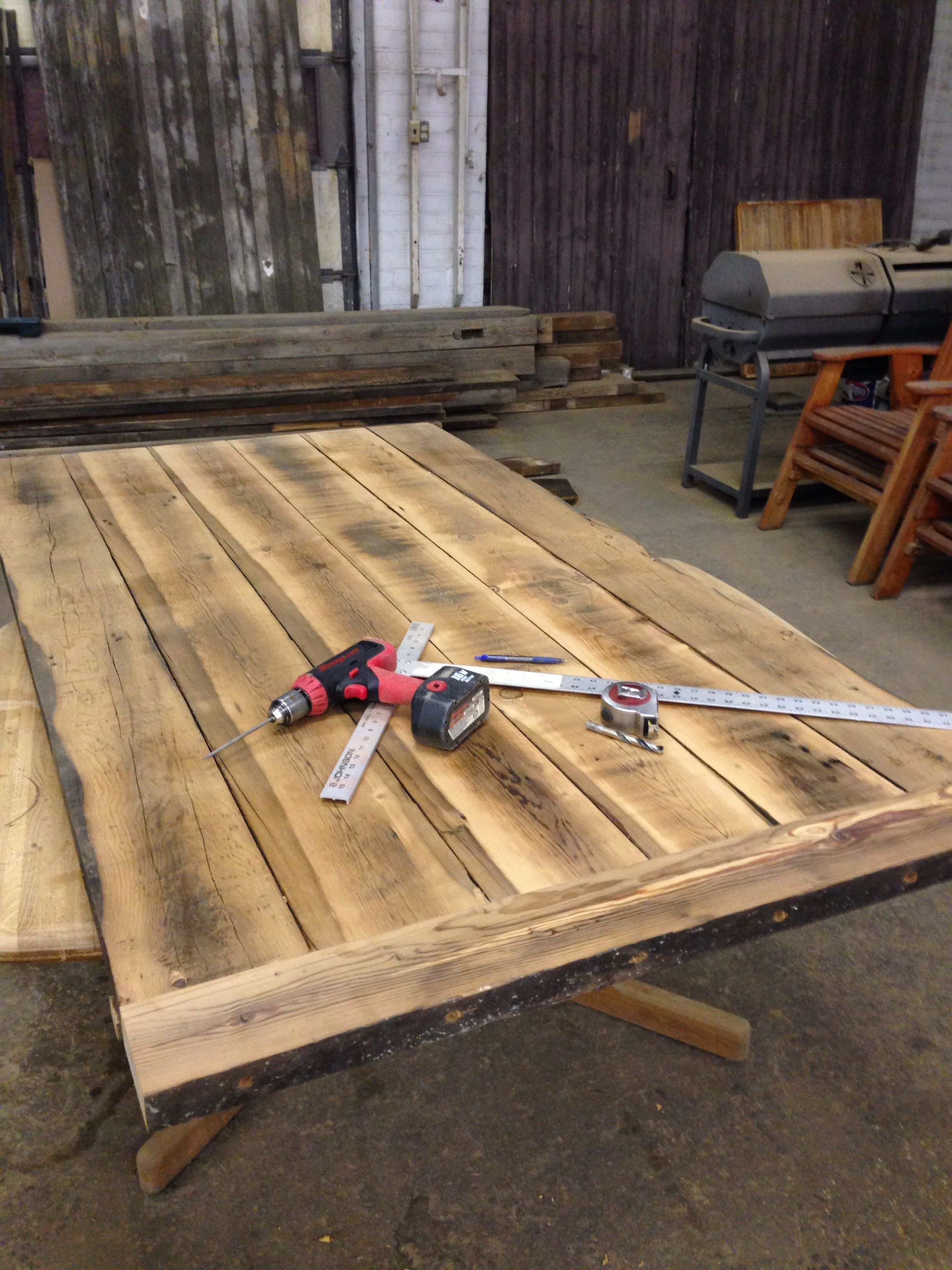 Beautiful plank table in progress... This is wood