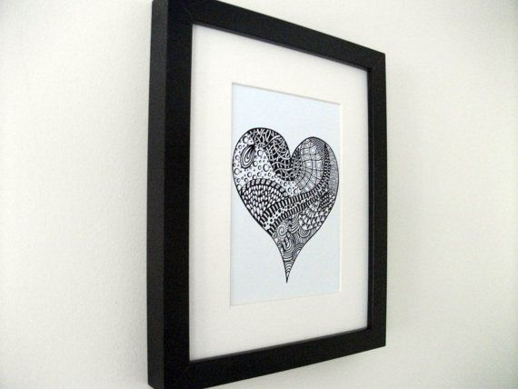 Ink Drawing Heart Print Zentangle 5 x 7 Black and by JoArtyJo, $20.00