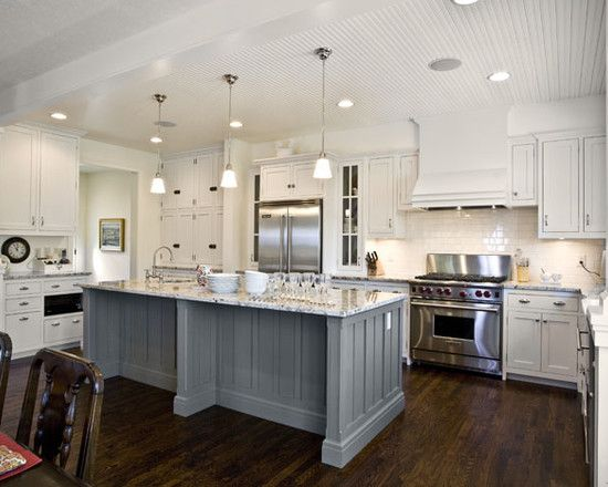 ?grey island and white cabinets
