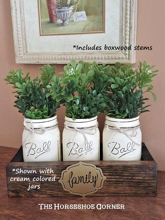 Rustic Home Decor Farmhouse Decor Painted Mason Jars Pint Aspen
