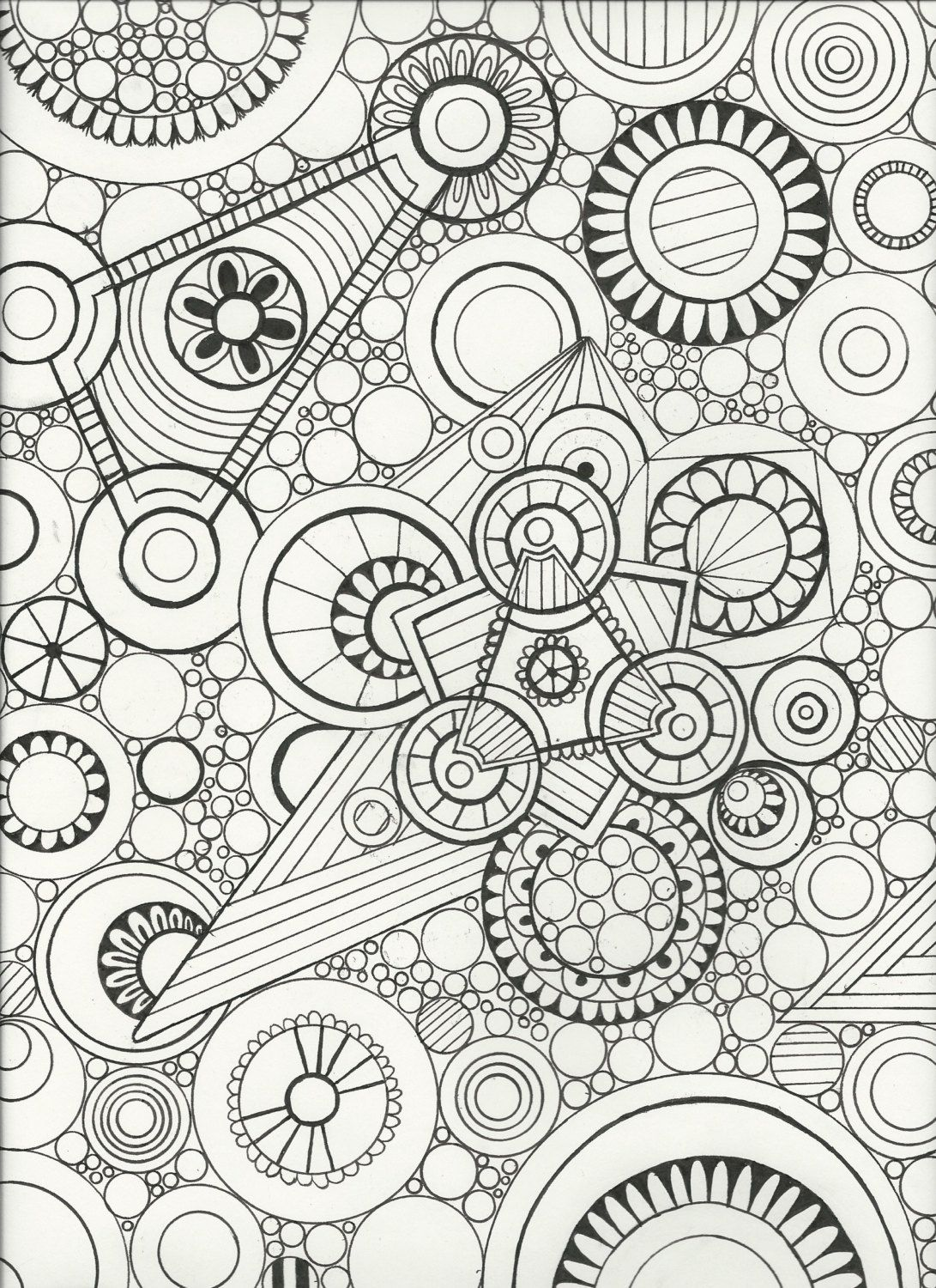 Original Hand Drawn,Zen doodle art,Adult coloring page,Wall Art ...