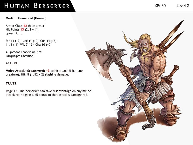 Dnd Next Monster Cards Human Berserker Monster Cards Dungeons And Dragons Homebrew D D Dungeons And Dragons