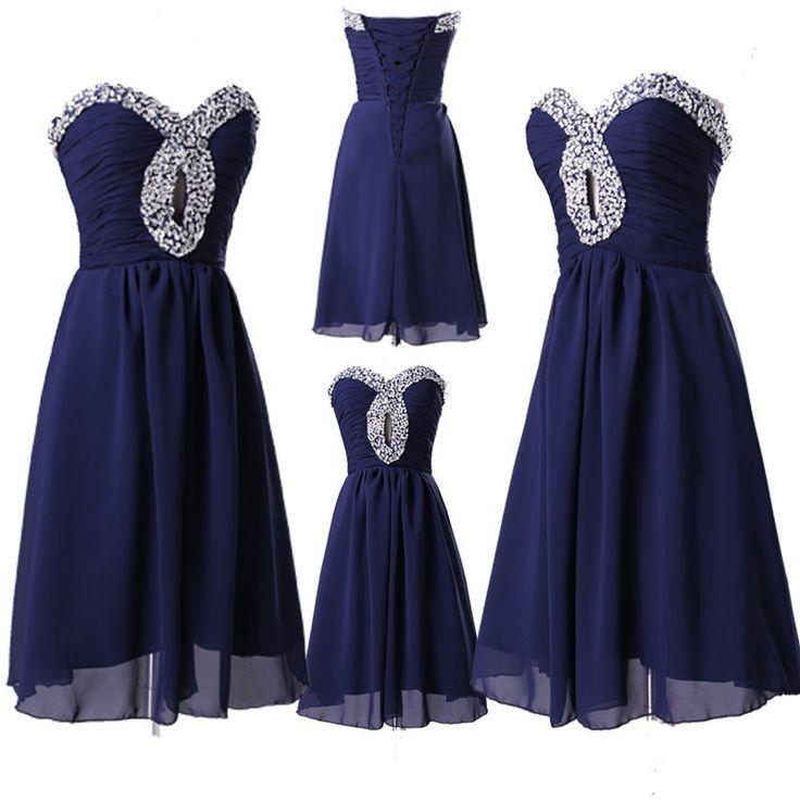 Hot A-Line Sweetheart Knee Length Chiffon Blue Homecoming/Prom Dress With…