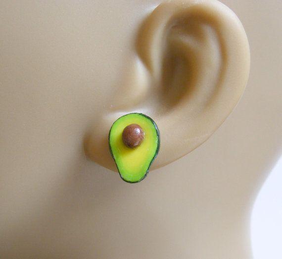 Food Jewelry Avocado Earrings Miniature Food Earrings by NeatEats