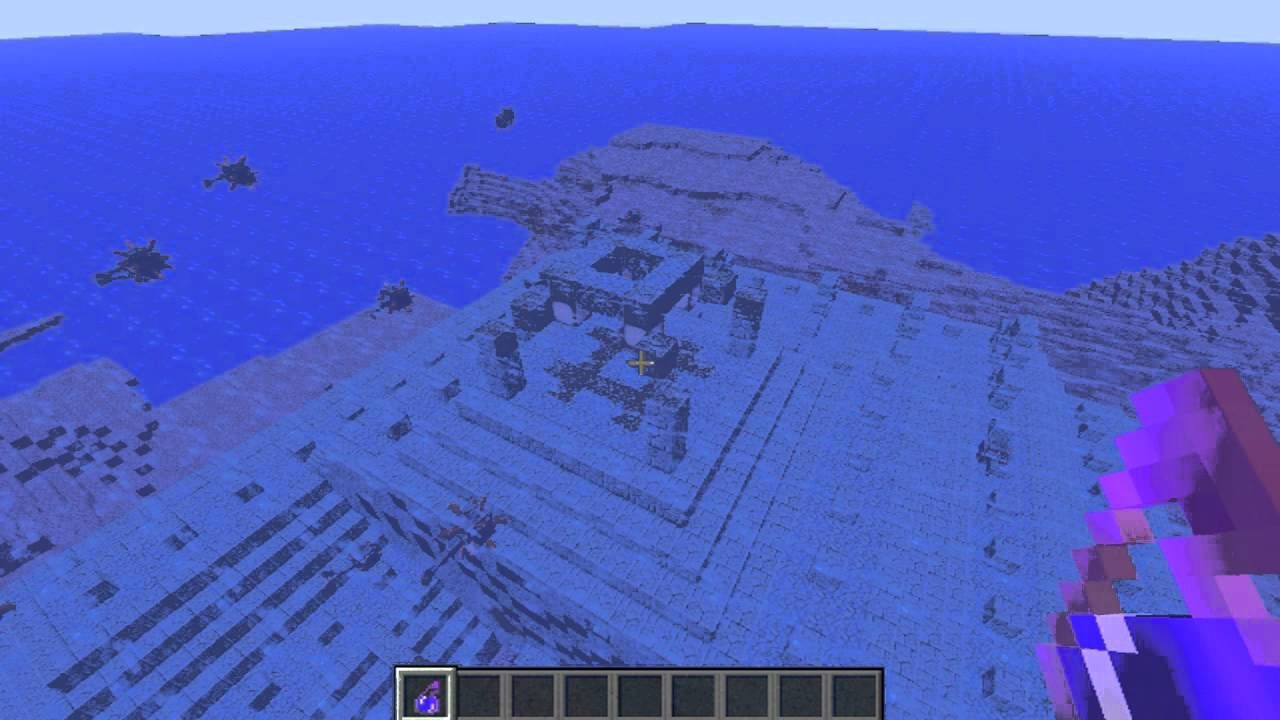 Cool Ocean Temple Spawn Ocean Monument Minecraft Seed 1 8 With