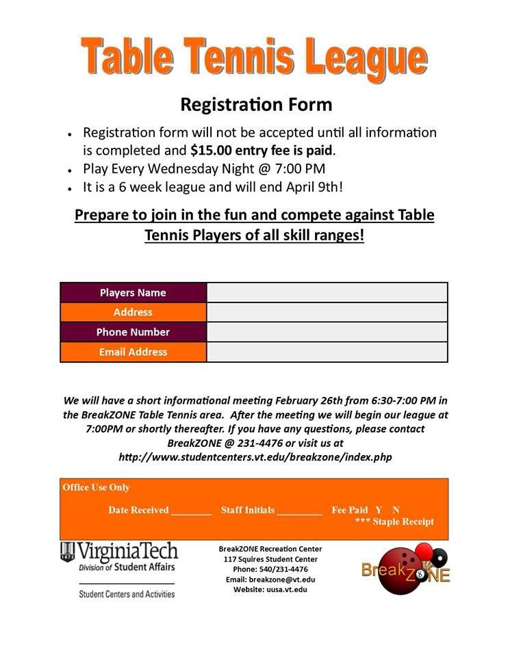 Table Tennis league registration forms Virginia Tech BreakZone - registration forms