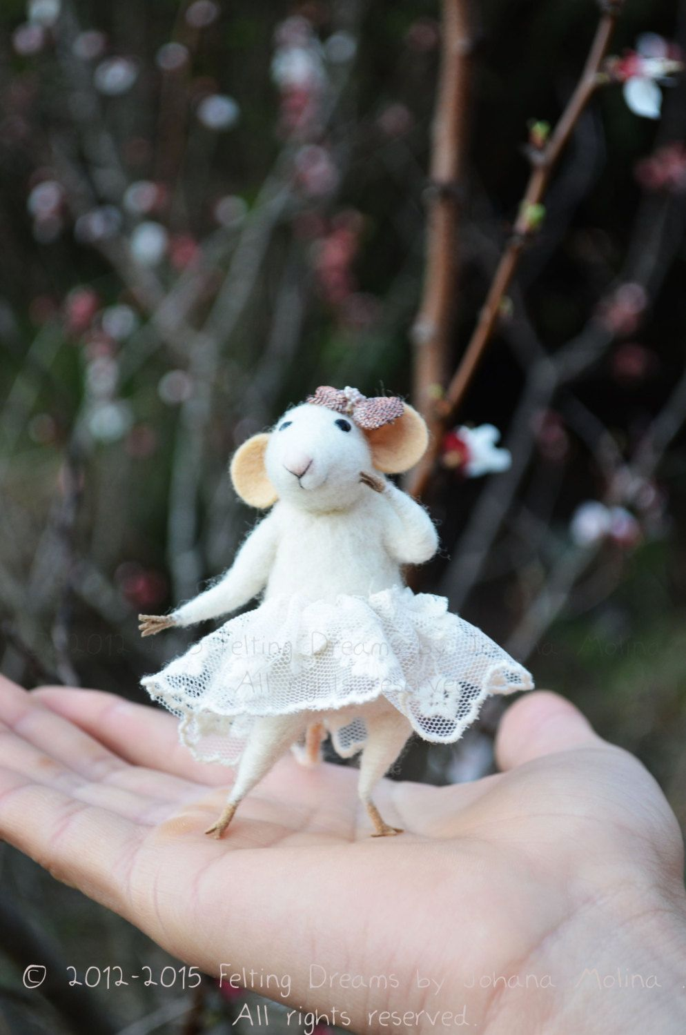 Little Ballerina Mouse-  Needle Felted Ornament - Felting Dreams by Johana Molina - by feltingdreams on Etsy