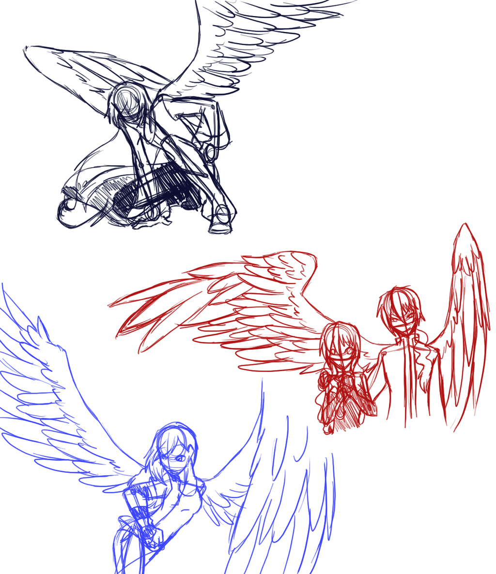 winged poses | Anime People With Wings Drawings H.a ...