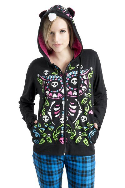 Owl of the dead (day of the dead) Gothic Hoodie | RK Edge, Home of Psychobilly Fashion Clothing