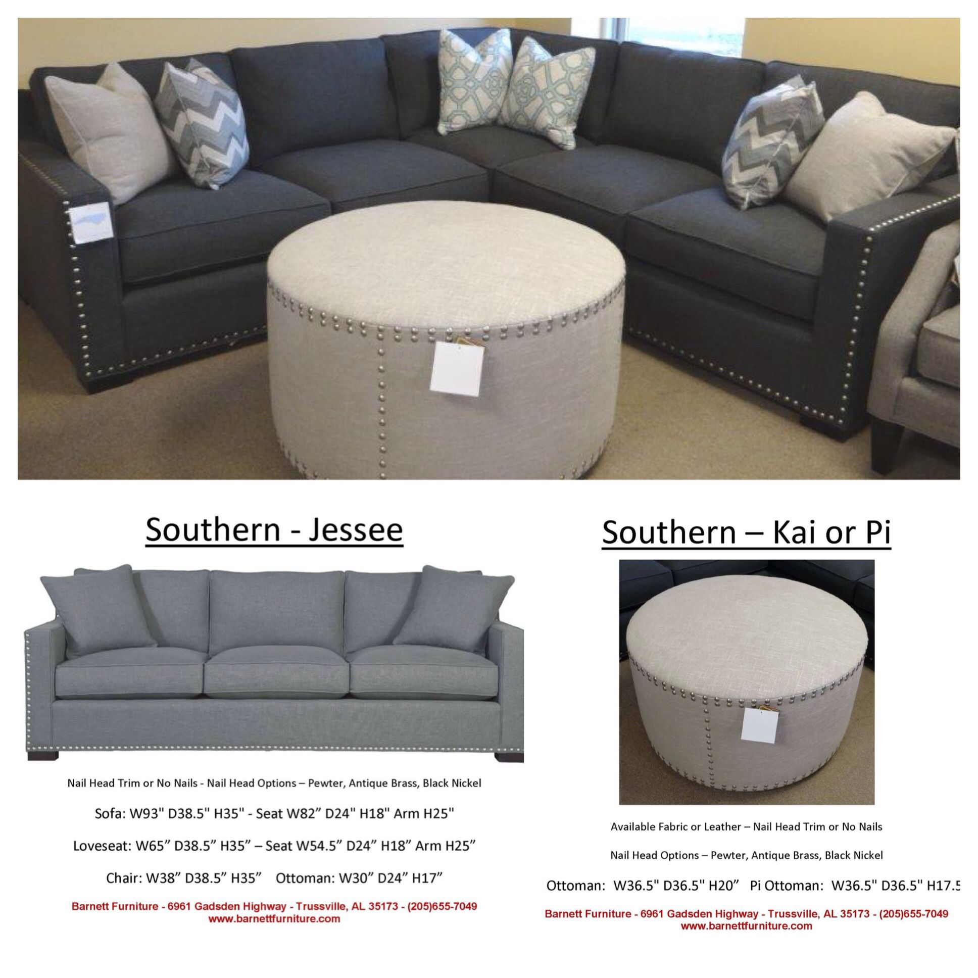 Attractive Southern Furniture   Jesse Sectional And Kai Ottoman. Jesse Sectional You  Choose Nail Head Trim