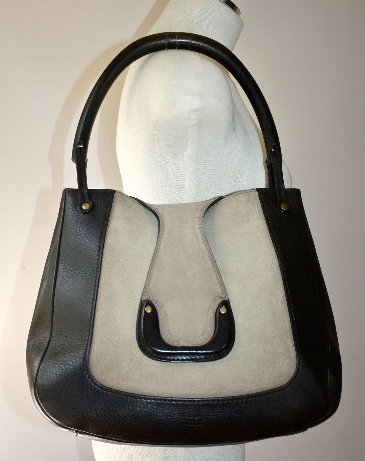 2e4effaa52d7 Authentic VINTAGE GUCCI Suede Leather Wooden Handle Tote | Gucci ...