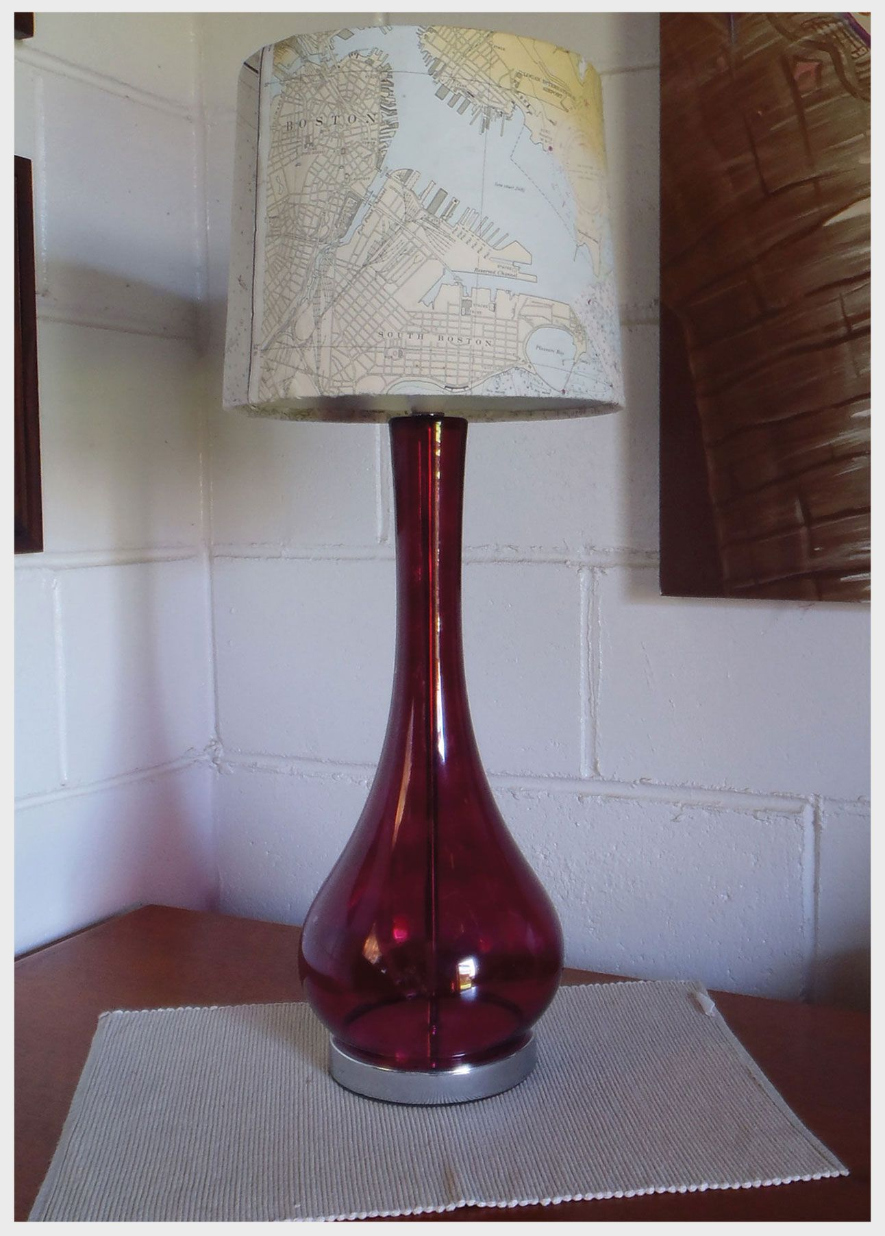 Boston harbour recycled lamp shade covered in an old map of boston boston harbour recycled lamp shade covered in an old map of boston harbour nb mozeypictures Choice Image