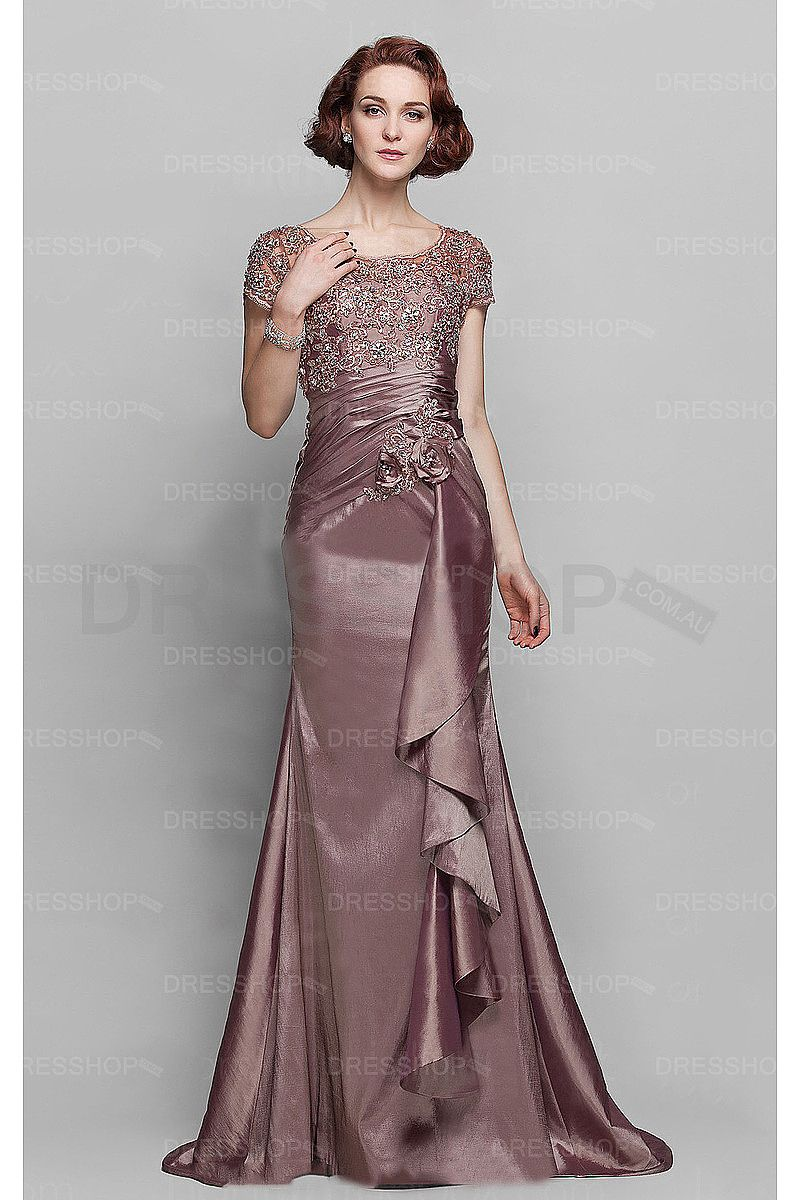 Best sheath scoop dropped satin mother of the bride dresses