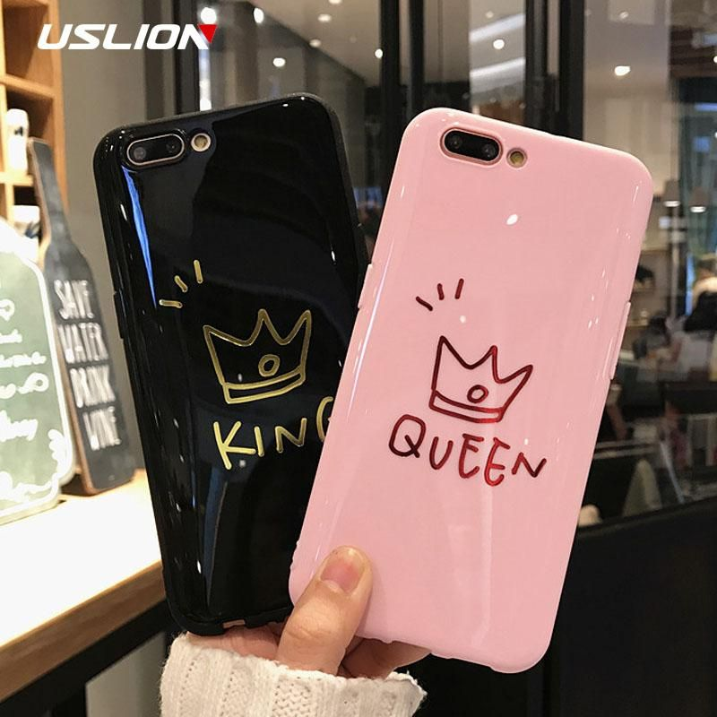 7ea92d892d USLION Glossy Crown Phone Case For iPhone 6 6s Plus Letter KING Back C –  Cell Phone Store No1