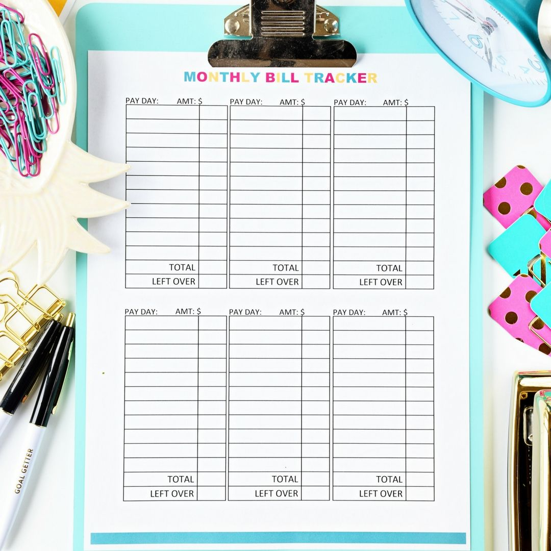 Monthly Bill Tracker Digital Download