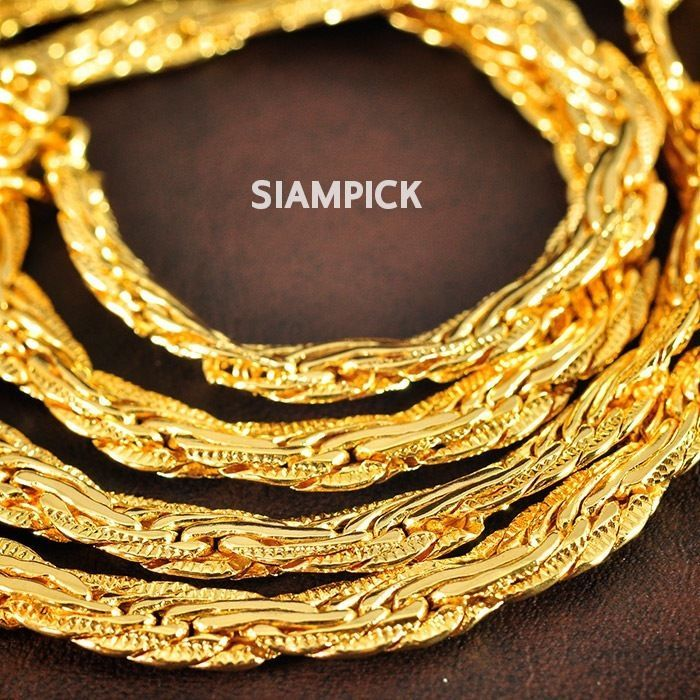 24 Inches Thai 24k Yellow Gold Baht Plated Indian Style Chain