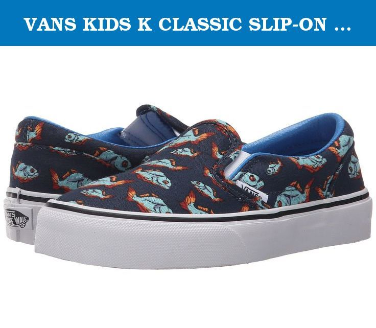 a6adefe5c18d1a VANS KIDS K CLASSIC SLIP-ON (PIRANHA) DRESS BLUE WHITE SIZE 2.5. An  favorite old-school sneaker gets a colorful update with a wild