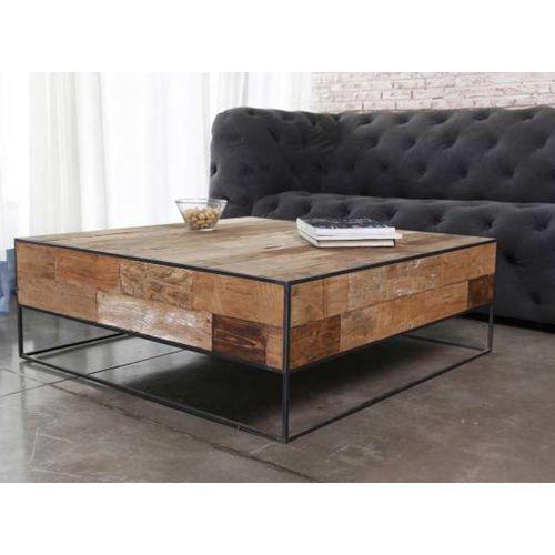 Table basse teck et métal recyclés URBAN 80cm carrée   Meubles ... 25f40e62b880