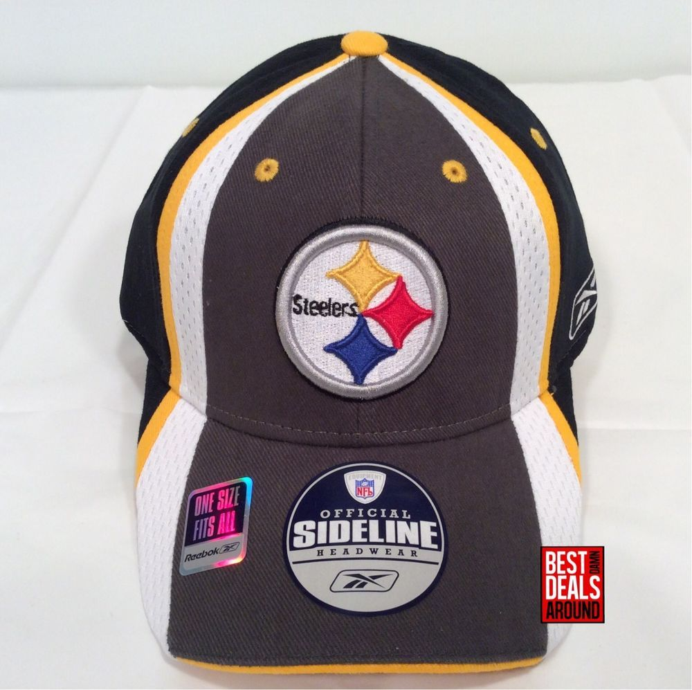 2b55549de Pittsburgh Steelers Reebok Official Sideline OSFA Stretch-Fit Fitted Cap Hat   Reebok  PittsburghSteelers