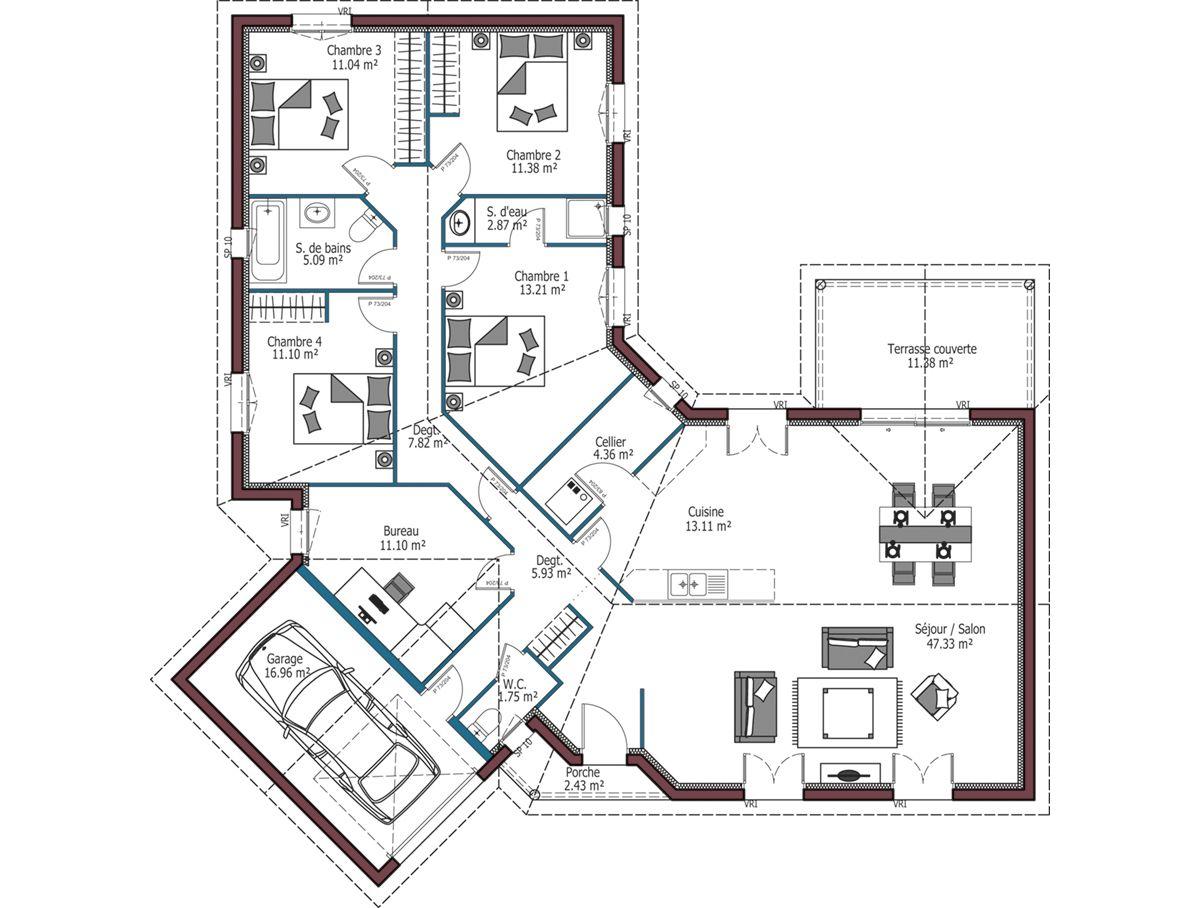 Plan Maison De Plain Pied Avec Terrasse Ooreka