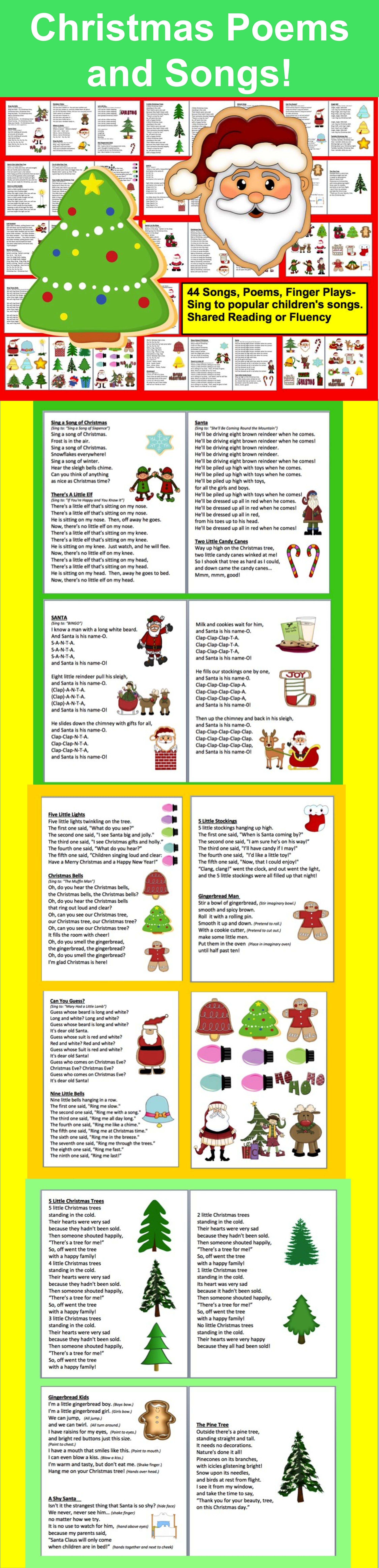 Christmas Activities Poems Songs And Finger Plays For Shared Reading Fluency Actividades De Ingles Actividades Navideno
