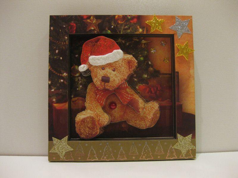 Winter- Weihnachtsbild Teddy mit Weihnachtsmütze von Renate´s Basteltruhe auf DaWanda.com