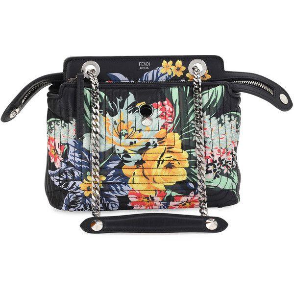 777d6a960d61 Fendi Dotcom Click Small Floral Quilted Chain Shoulder Bag (4