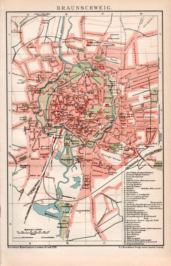 1898 Braunschweig Germany Old Map Brunswick Karte Niedersachsen