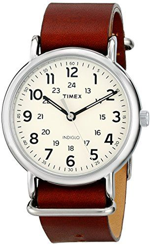 9672b404089a Women s Wrist Watches - Timex Unisex T2P495 Weekender Oversize Brown  Leather SlipThru Strap Watch   To view further for this item