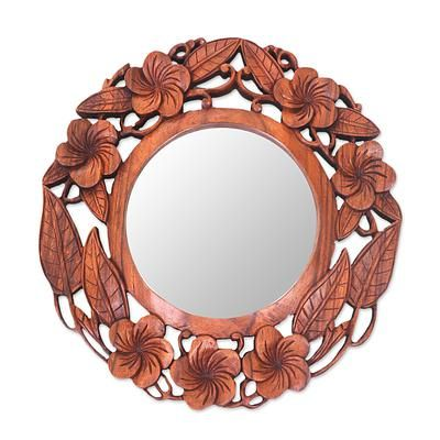Hand Carved Suar Wood Round Mirror With, Carved Wooden Round Mirror