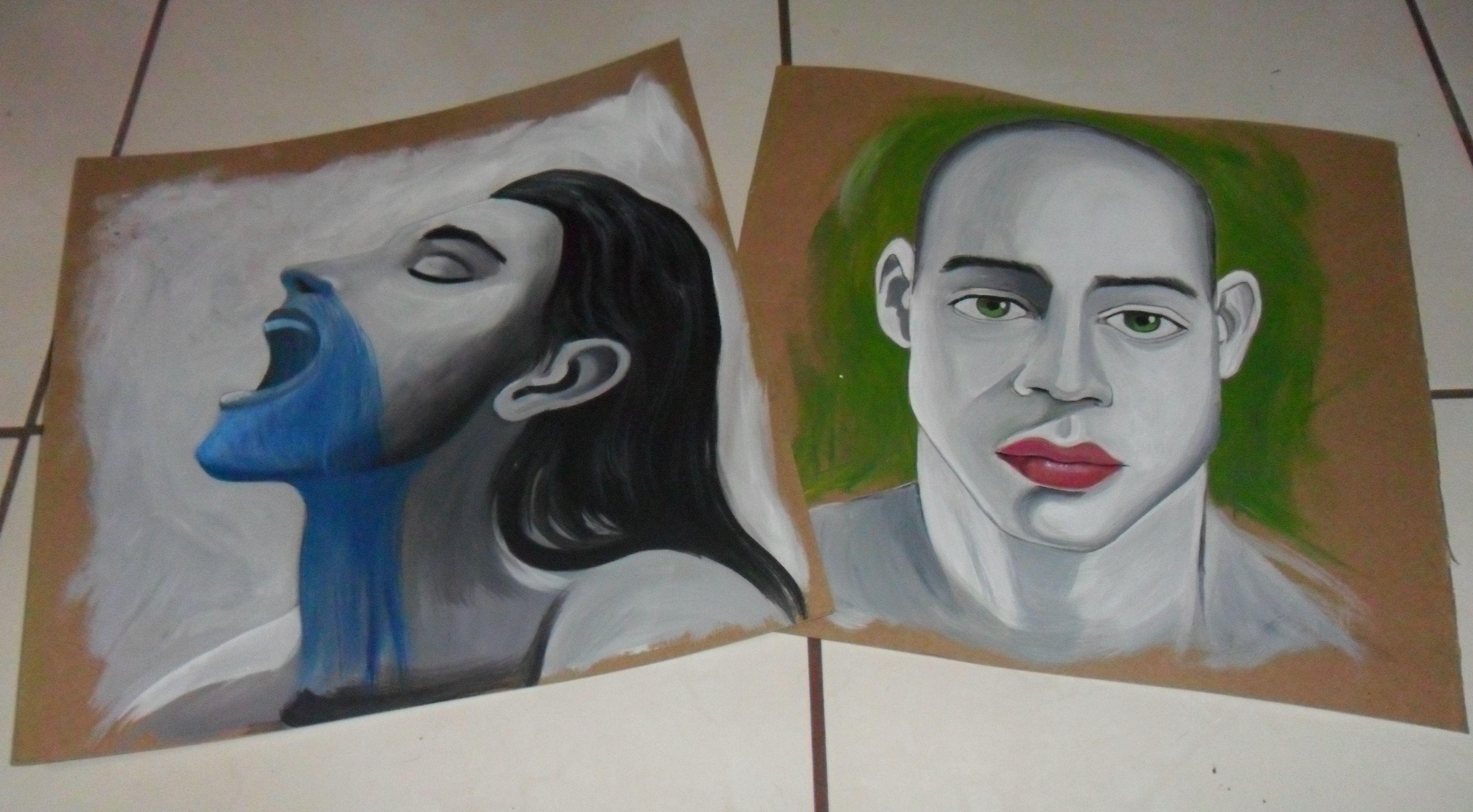 Bocetos de rostros en acrílico Susana Soto Poblette 2014