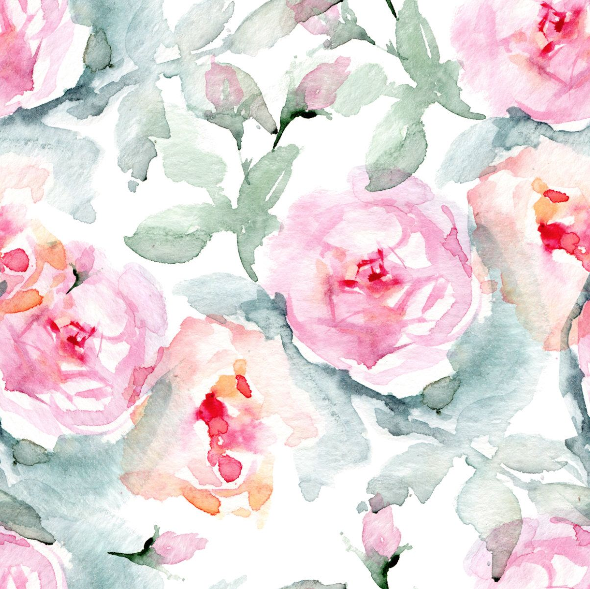 Floral Watercolor Wallpaper Large Watercolor Flowers Removable