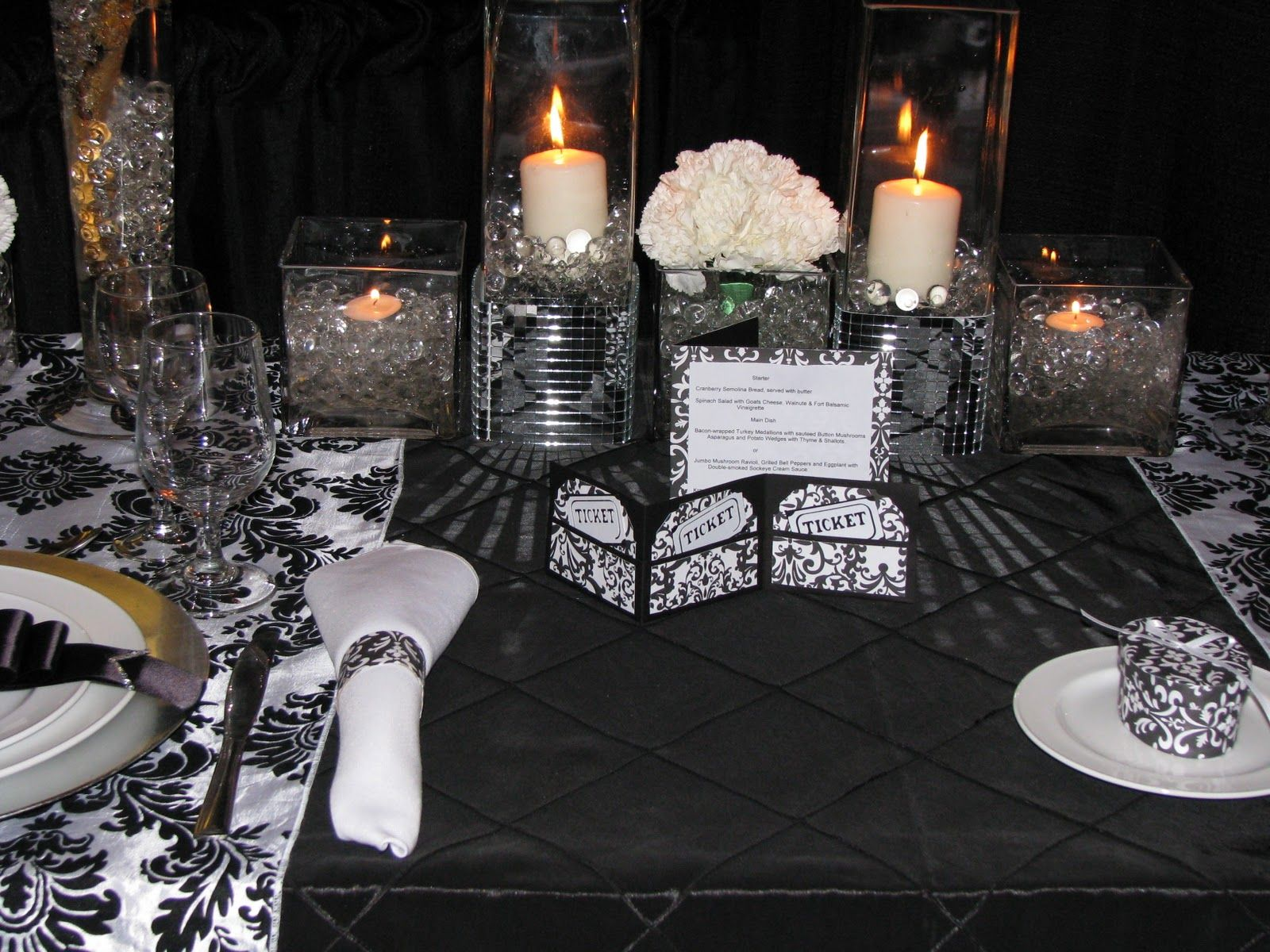 black and white and bling table setting | Black pintuck taffeta table covering with black u0026 & black and white and bling table setting | Black pintuck taffeta ...