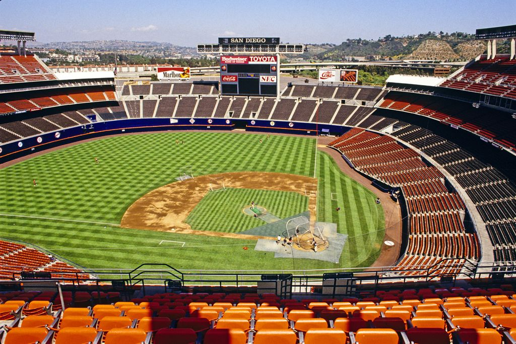 Jack Murphy Stadium Tenants San Diego Padres Mlb San Diego Chargers Nfl Capacity 47 972 Baseball Stadium Baseball Park Major League Baseball Stadiums