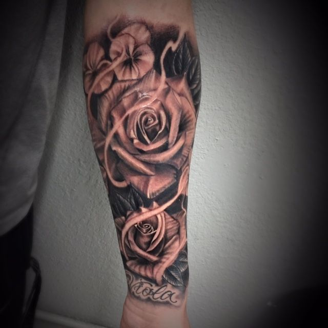 Man Black And Grey Rose Tattoo Black And Grey Rose Tattoos For Men