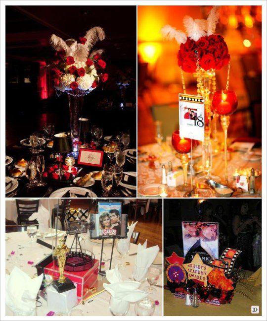 Decoration centre de table mariage mariage cinema oscar for Table theme cinema