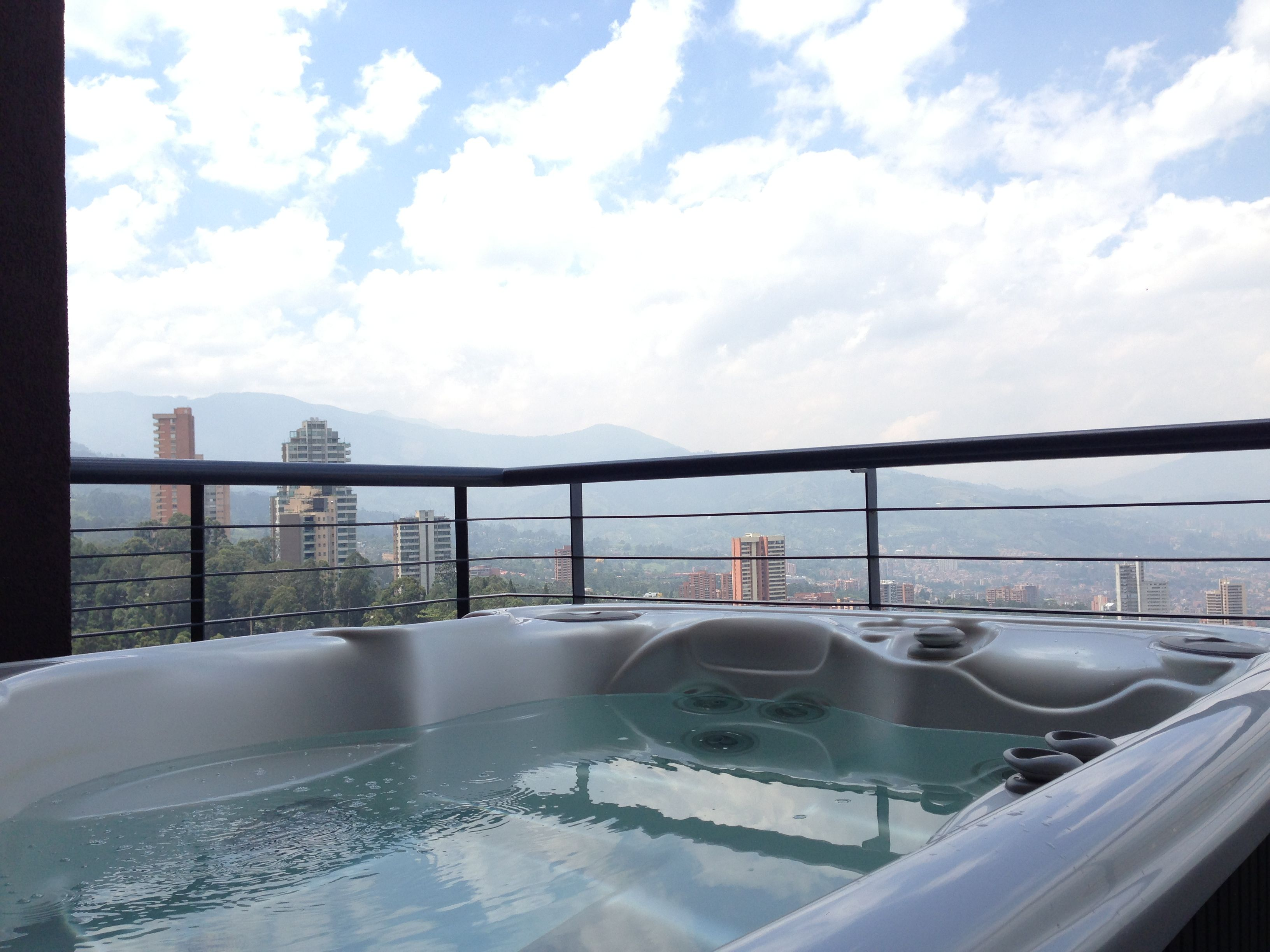 Is there a better view than a high rise hot tub overlooking the city  skyline?