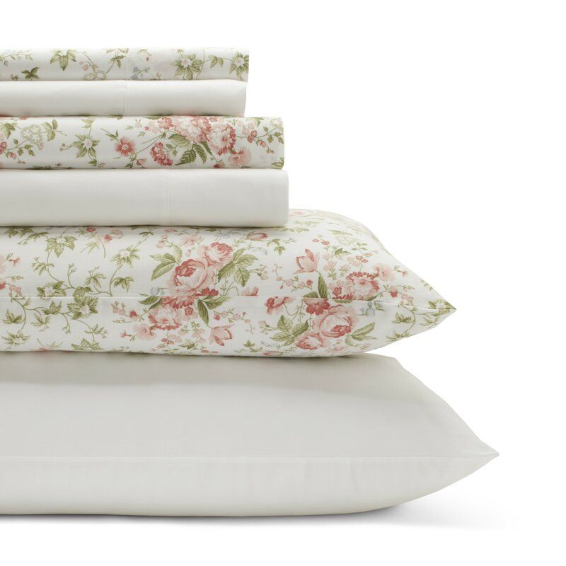 Marissa 200 Thread Count Floral 100 Cotton Percale Sheet Set In 2021 Patterned Sheet Set King Sheet Sets Sheet Sets Queen