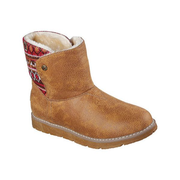Women's Skechers BOBS Alpine Snowday Bootie - Chestnut Casual ($58) ❤ liked  on Polyvore