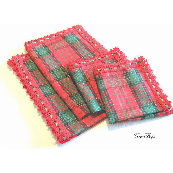 Christmas Placemats Set Of Two Placemats With Napkins Red Placemats 35 Liked On Polyvor Christmas Placemats Christmas Table Napkins Red Table Linens