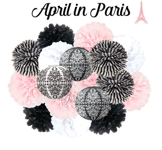 APRIL IN PARIS Tissue Paper Pom Pom Decorations Set of 8 Tissue