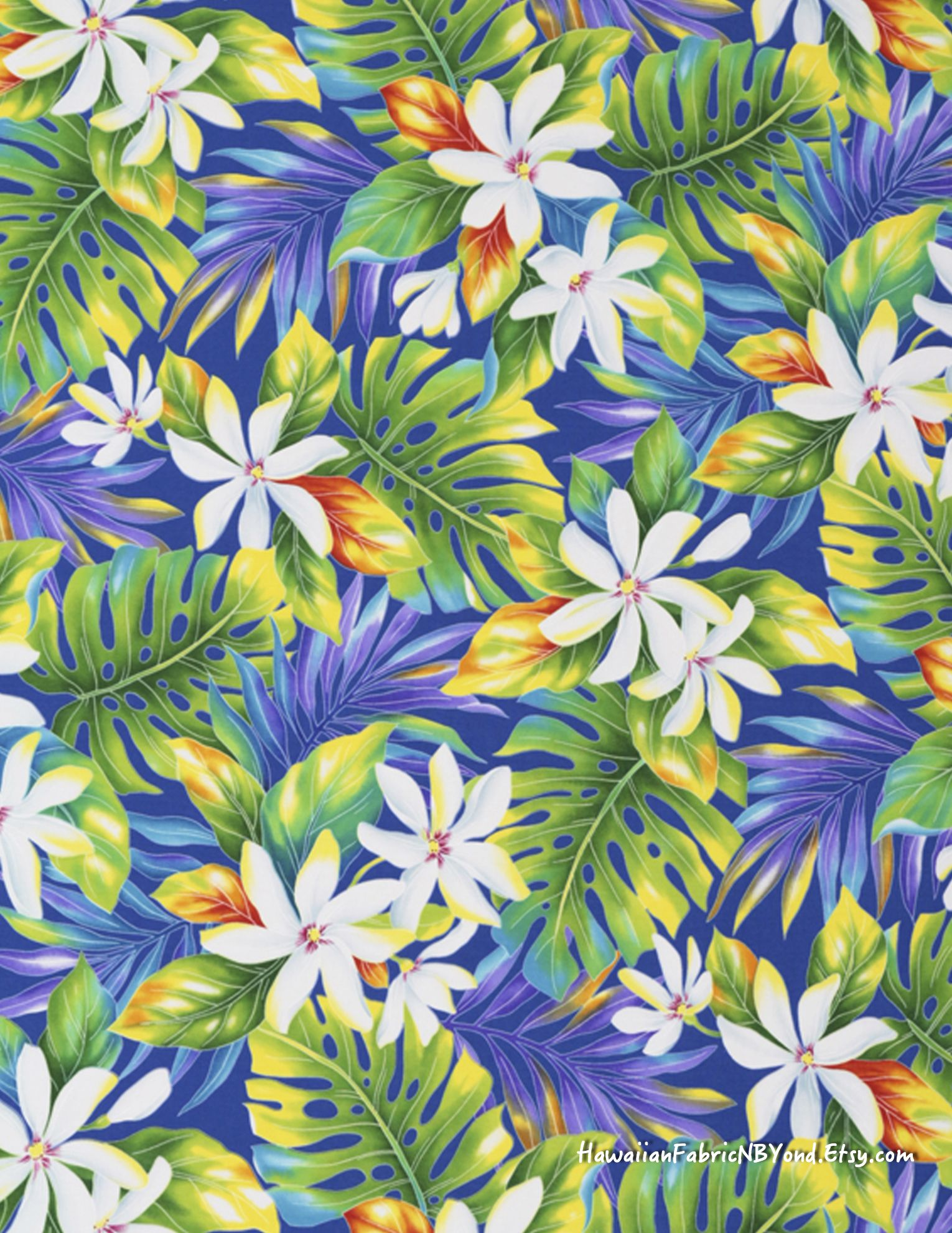 e41e0b30 Tropical Fabric: White Tiare flowers amidst green, blue, and yellow  Monstera leaves. Cotton. By HawaiianFabricNBYond.Etsy.com