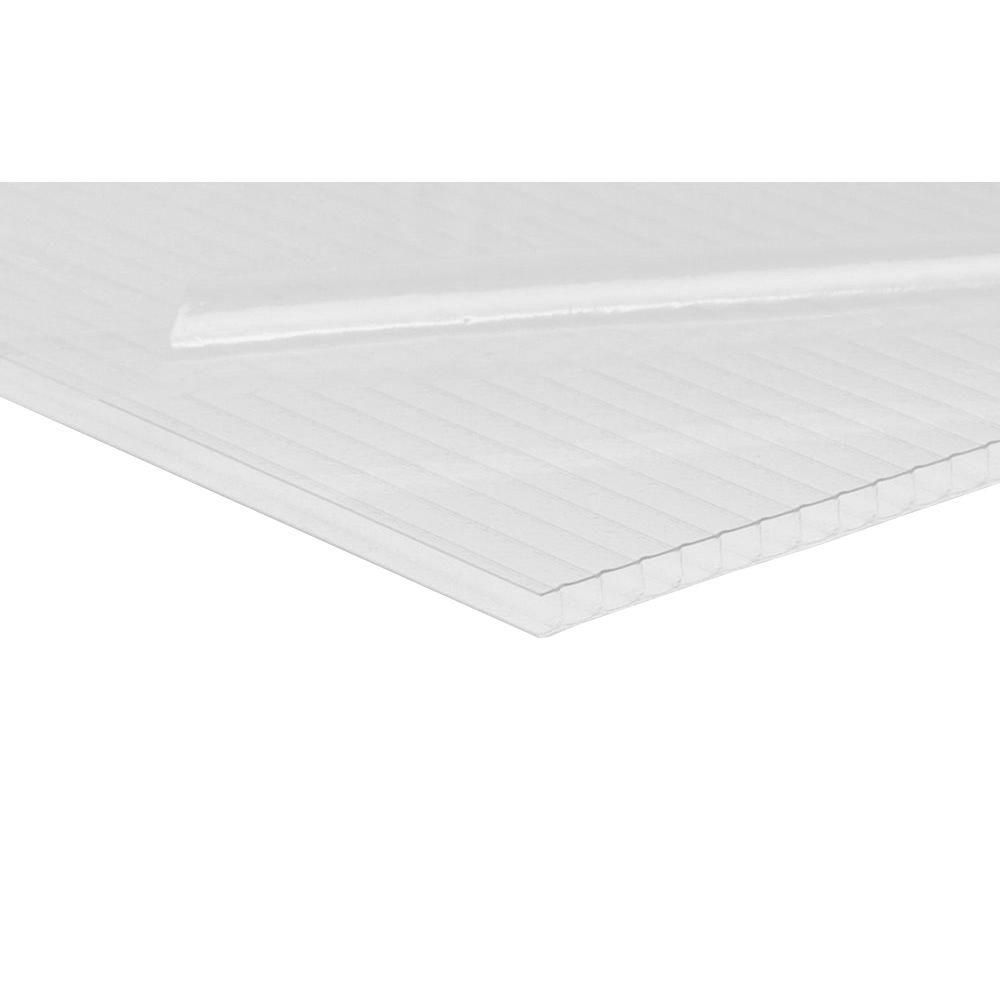 Lexan Thermoclear 48 In X 96 In X 1 4 In Clear Hammered Glass Multiwall Polycarbonate Sheet Pctw486hg Corrugated Plastic Home Depot Window Well
