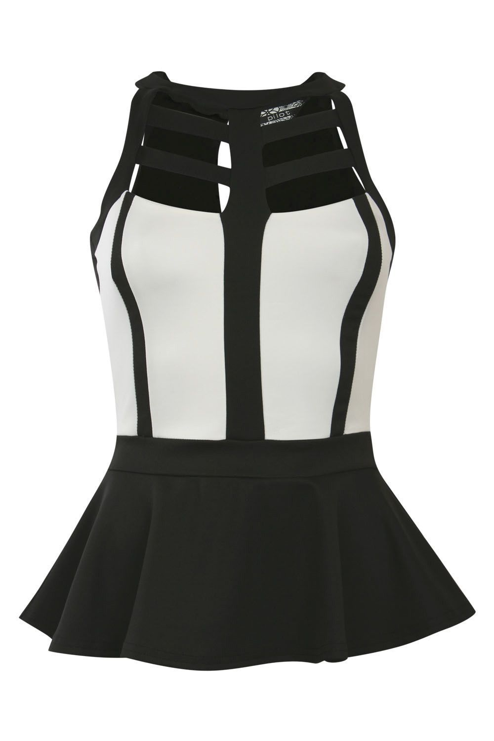 Caged Monochrome Peplum Top in Black