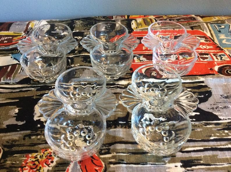 Vintage Glass Salt and Pepper sets Jam Serving Dishes