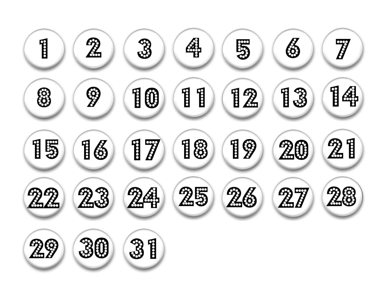 White And Black Perpetual Calendar Numbers 1 31 1 Etsy In 2021 Calendar Numbers Thanksgiving Calendar Calendar