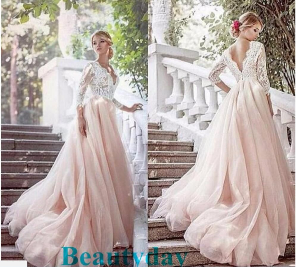 Blush bohemian hippie wedding dresses beach aline wedding dress